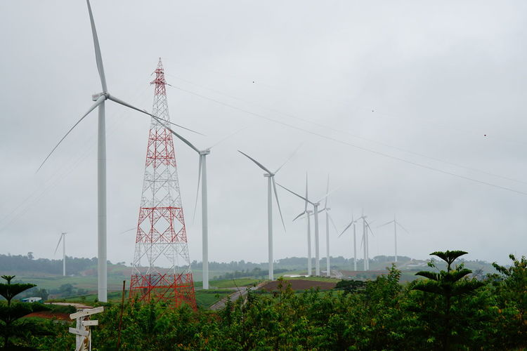 24 wind turbines in Khao Kho, Phetchabun, Thailand View Day Fog Nature Outdoors Scenic Landscapes Scenic View Scenicphotography Sky Wind