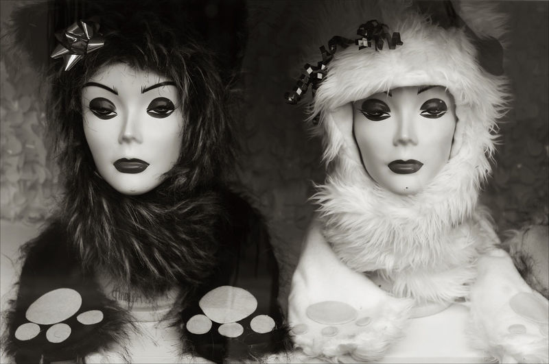 UNLIKELY TWINS Mannequin Black And White Close-up Day Female Representation Hats Portrait Storefront