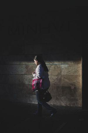 Magenta Walk One Person Black Background Shadow Streetphotography EyeemTeam EyeEm Selects City Street Eyeem Market EyeEm Street The Week On Eye Em EyeEm Team Street Photography One Woman Only Women Well-dressed