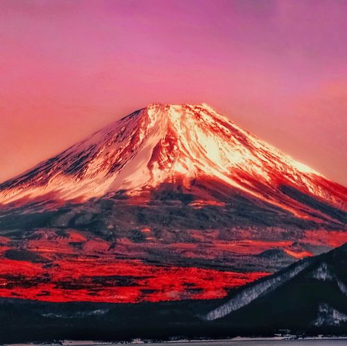Fujimountain Mountain Snow Beauty In Nature Volcano Scenics Nature An Eye For Travel Snowcapped Mountain Volcanic Landscape Landscape Sunset Winter