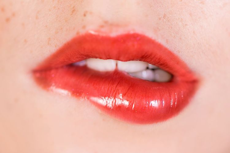 Human Skin Human Body Part Red Human Lips Close-up Lipstick Food Stories Human Face Pink Color One Person Make-up Beauty Sensory Perception Adult People Day Young Adult Indoors  Food Stories