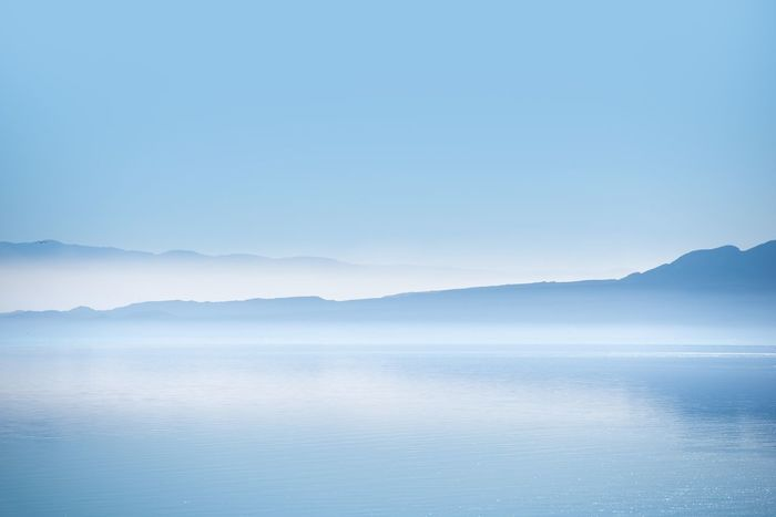 The Salton Sea. Southern California Foggy Salton Sea Scenery. California Salton Sea Salton Sea, Scenic Beauty In Nature Blue Clear Sky Copy Space Day Landscape Mountain Nature No People Outdoors Scenery Scenics Sea Sky Tranquil Scene Tranquility Water California Dreamin