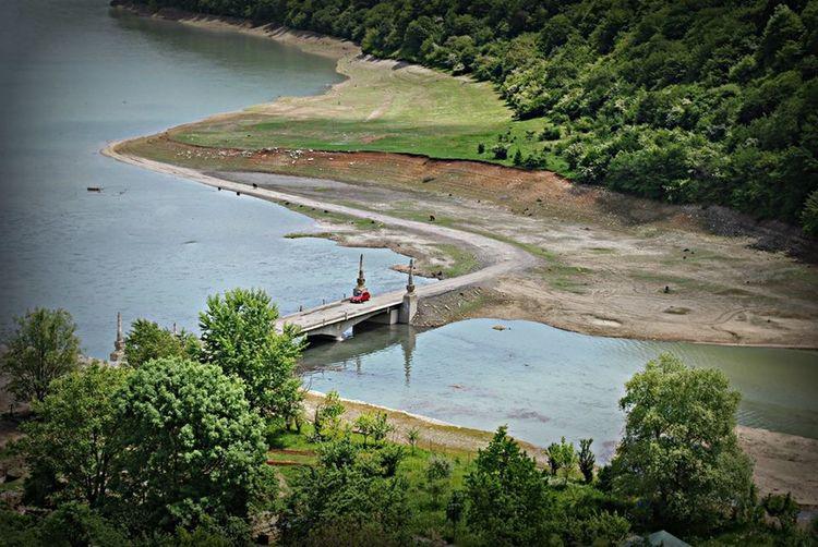 River View Tranquil Scene Nature Water Ananuri Georgia Landscape Day Bridge Car