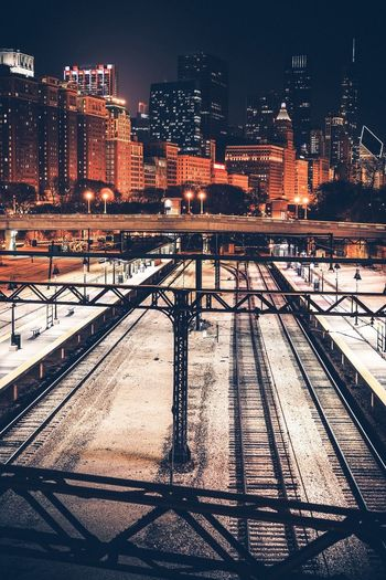 Railway Tracks In City At Night