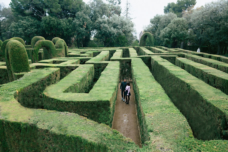 Adult Day Full Length Garden Path Green Color Hedge Maze One Person Outdoors Parc De Laberint D'horta People Neighborhood Map