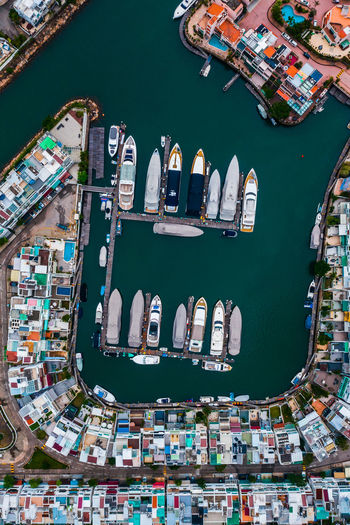 Houses and yachts Architecture Water High Angle View Building Exterior Built Structure Nautical Vessel Transportation No People Day City Building Aerial View Outdoors Nature Waterfront Travel Destinations Sea Commercial Dock Yachts Pier Holiday Apartment House Ship EyeEm Selects