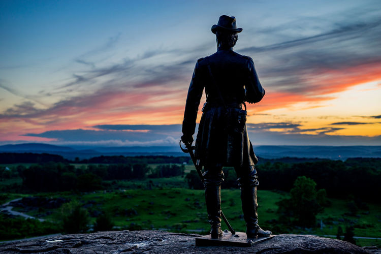 Sunset on Little Round Top with the Gouverneur K. Warren Monument. Beauty In Nature Civil War Cloud Cloud - Sky Cloudy Dramatic Sky Gettysburg Battlefield Gettysburg Pennsylvania Gouverneur K. Warren Landscape Monument Nature Non Urban Scene Non-urban Scene Orange Color Outdoors Scenics Sky Sunset Tranquil Scene Tranquility