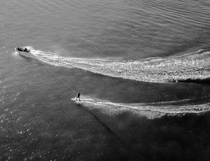 High Angle View Of Person Surfing On Sea