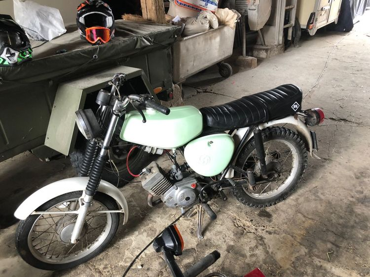 Simson Simson S51 Land Vehicle Transportation Mode Of Transportation Stationary Motorcycle Bicycle High Angle View