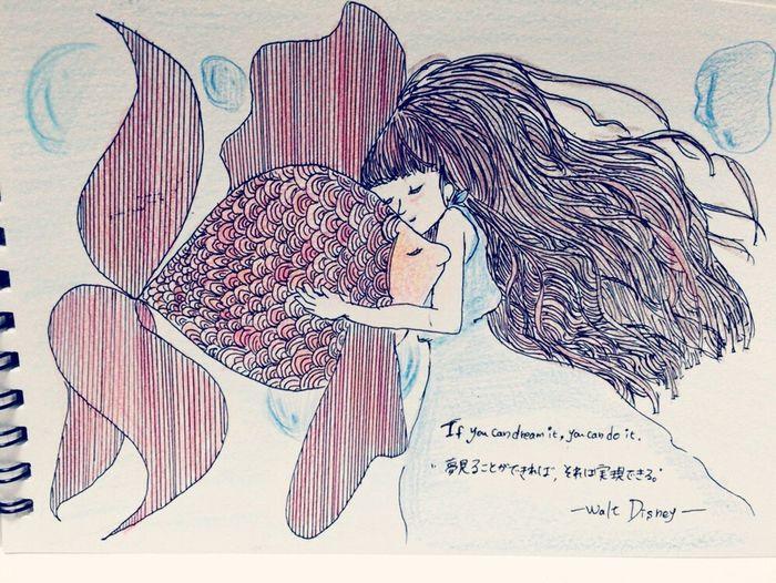 Illustration イラスト 女の子 Girl 金魚 Fish 夢見ることが出来れば、それは実現できる ウォルト・ディズニー Disney