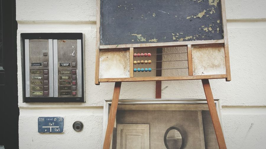 Weathered blackboard with abacus