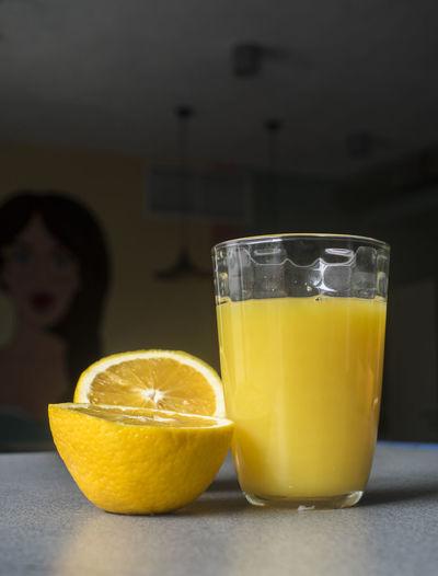 Glass of Fresh orange juice on grey table Food And Drink Juice Orange Drink Fresh Glass Grey Table