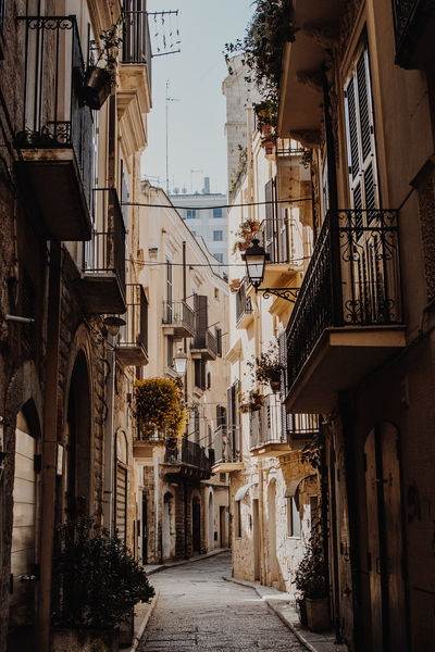Small streets of Bari, Italy Bari European  Footpath Plants Streets Travel Alley Architecture Balconies Balcony Building Exterior Built Structure City Day Empty Europe Italy No People Outdoors Residential Building Small Street Street The Way Forward Vintage Vintage Photo
