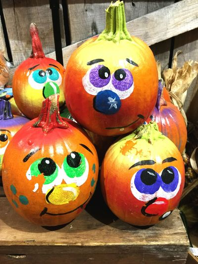 Art And Craft Multi Colored Close-up Cultures Celebration No People Outdoors Day Jack O Lantern Halloween Pumpkins Decoration Painted Pumpkin Faces ın Nature Faces Funny Faces Bright Colors Silly Faces  Art, Drawing, Creativity Arts And Crafts Quick Shot Halloween Decorations Handmade For You Autumn Watching People Visual Feast