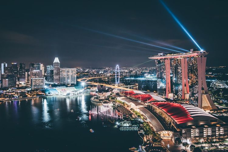 Singapore Nightphotography Marina Bay Sands Built Structure Architecture Night Building Exterior City Illuminated Building Sky Cityscape Office Building Exterior Travel Destinations High Angle View Modern Water Skyscraper