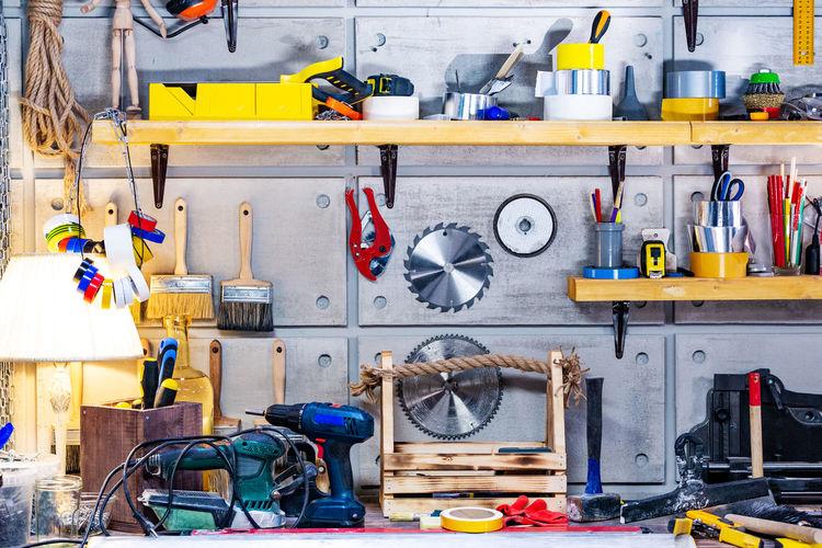 Equipment hanging in workshop