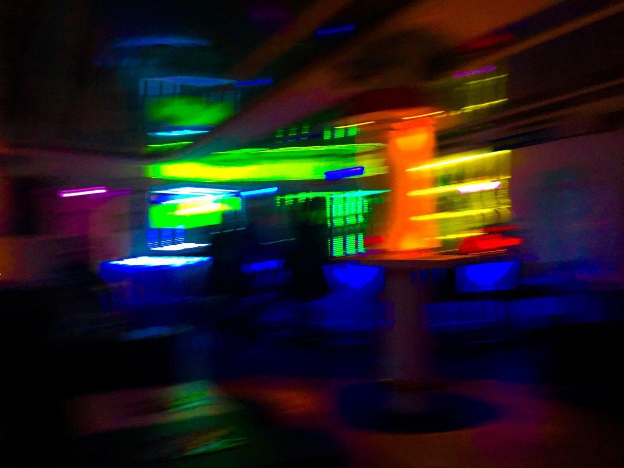 illuminated, night, blurred motion, transportation, speed, no people, land vehicle, outdoors, neon, city, close-up