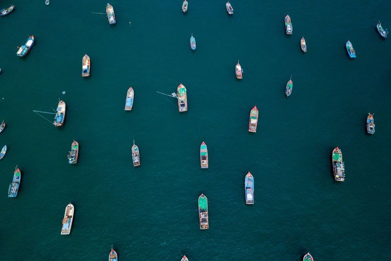 High Angle View Water Large Group Of People Day Nature Green Color Nautical Vessel Large Group Of Objects Outdoors Aerial View Architecture Backgrounds City Built Structure