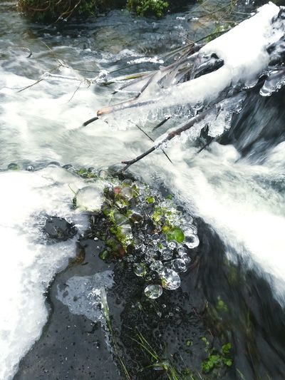 Stampfenbach Ice River Ice Creek Water High Angle View Nature Day Outdoors No People Reflection
