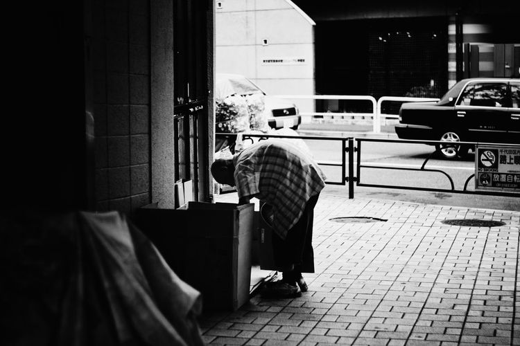 Blackandwhite Casual Clothing City City Life Clochard Day Homeless Japan Lifestyles Streetphotography