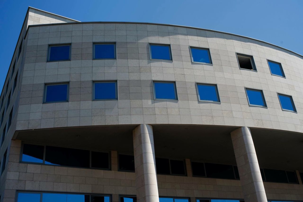 architecture, built structure, building exterior, window, blue, low angle view, day, outdoors, no people, clear sky, sky