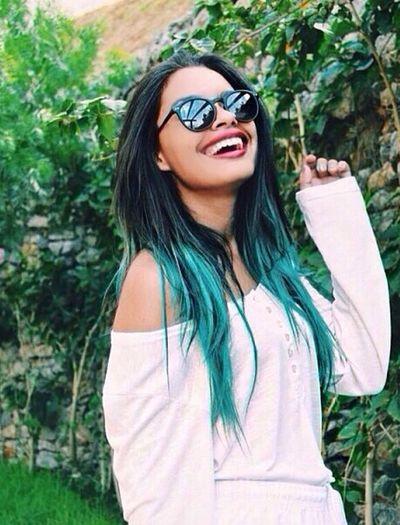 Beautiful ♥ Girl Blue Hair Smile :)