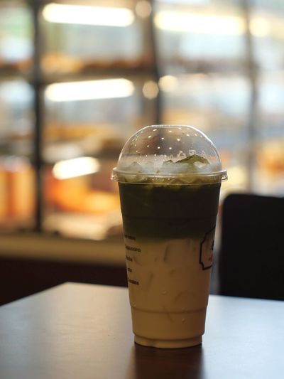 Green Tea Latte Drink Cold Temperature Alcohol Drinking Glass Ice Cube Frothy Drink Close-up Food And Drink Ice Tea Carbonated Mojito Mint Leaf - Culinary Iced Coffee