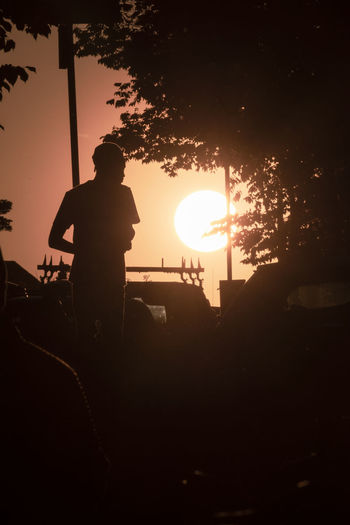 Silhouette man standing by tree against sky during sunset
