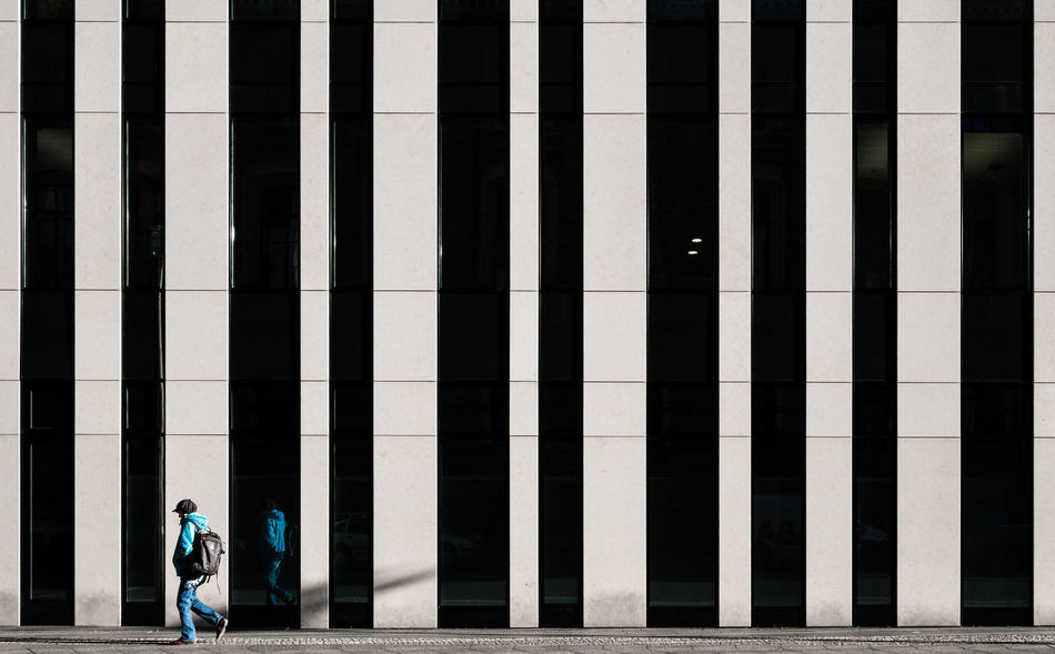 Blueguywalkingby Architecture_collection Berlin Photography City Life Minimalist Architecture Reflection Architectural Feature Architecture Berliner Ansichten Building Exterior Built Structure City Day Fujix_berlin Fujixseries Minimalism Minimalistic One Person Outdoors People Ralfpollack_fotografie Real People Shadows The Graphic City The Street Photographer - 2018 EyeEm Awards