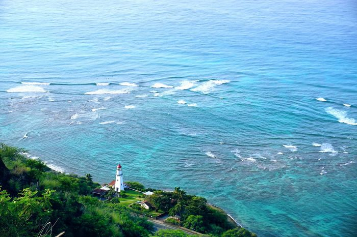 Diamond Head Overview Sea High Angle View Beauty In Nature Water Lifestyles Scenics - Nature Real People Leisure Activity Blue Day Nature Tranquility Idyllic Outdoors