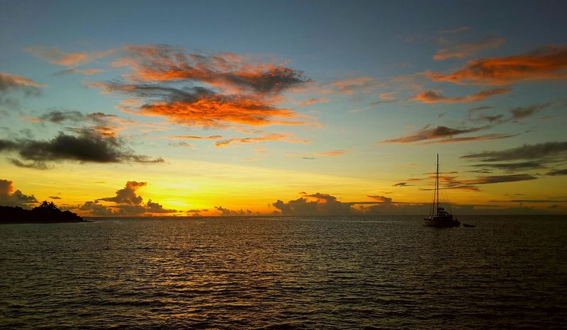 Sunset Sea Silhouette Tranquility Sky Nature Water No People Cloud - Sky Outdoors Travel Destinations Scenics Nautical Vessel Horizon Over Water Landscape Beauty In Nature Day