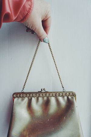 golden vintage purse Human Body Part Adults Only One Person Human Hand One Man Only Only Men People Adult Men Working Indoors  Close-up Day Gold Golden Purse Purses Bags Hand Holding White Background Silk Hands Lieblingsteil