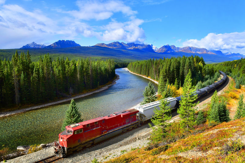 Train passing famous Morant's curve at Bow Valley in autumn ,Banff National Park, Canadian Rockies,Canada. Water Transportation Scenics - Nature Nautical Vessel Sky Beauty In Nature Tranquil Scene Cloud - Sky Plant Tranquility Tree Lake Day Mode Of Transportation Non-urban Scene Nature No People Mountain Outdoors Alberta Canada Railway Travel Banff National Park  Canadian Rockies  Locomotive Train Canadian Pacific Railway Bow Valley Parkway Curve