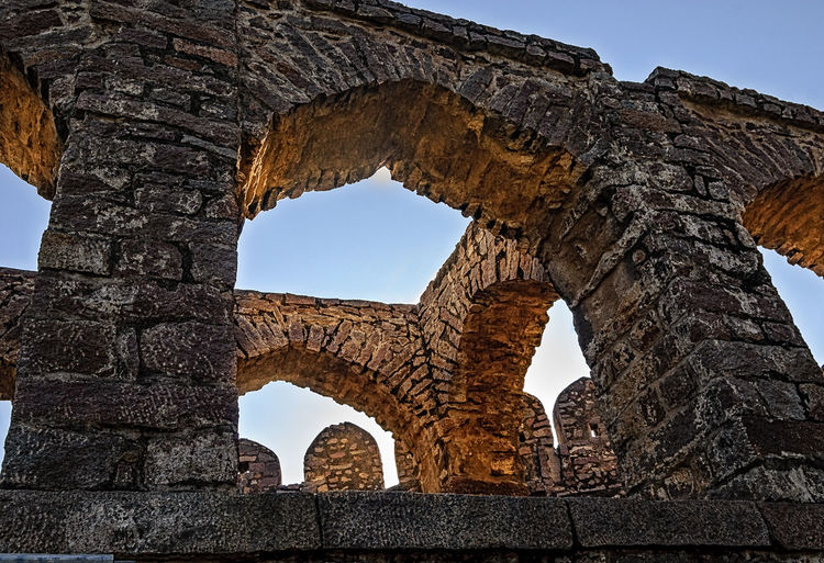 Shapes Ancient Ancient Civilization Ancient History Archaeology Architectural Column Architecture Built Structure Cultures Day Gunbir, Golconda,arches,shapes History Low Angle View Nature No People Old Ruin Outdoors Ruined Scenics Sky Travel Destinations