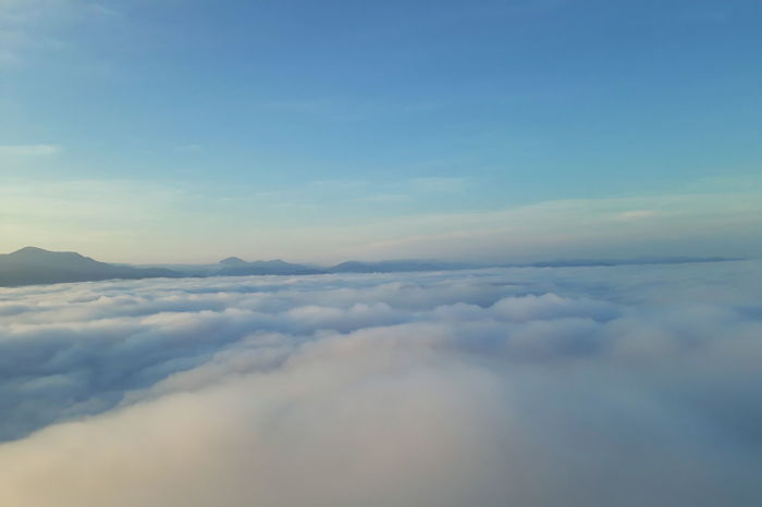 Aerial View Backgrounds Beauty In Nature Blue Cloud - Sky Cloudscape Day Fluffy Idyllic Nature No People Outdoors Scenics - Nature Sky Tranquil Scene Tranquility White Color
