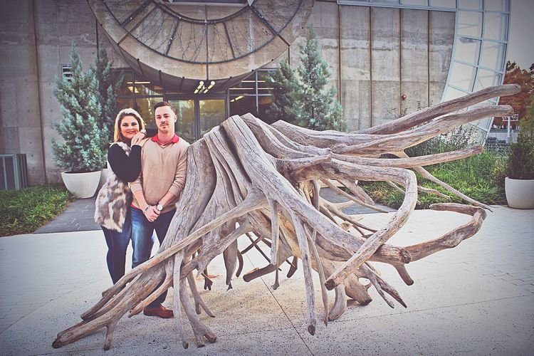 My wife and I outside of the Myriad Gardens in OKC. Outdoors Young Adult Architecture Husband And Wife