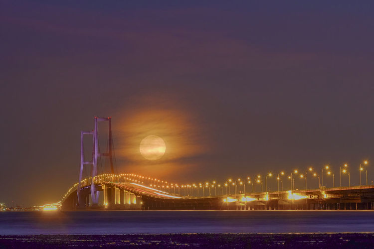 Moonrise above Suramadu bridge ASIA Arise Low Angle View Moon Multi Exposure Nightphotography Full Moon Night  Landscape Moonrise No People Suramadu Bridge Wonderful Indonesia The Week On EyeEm Mobility In Mega Cities