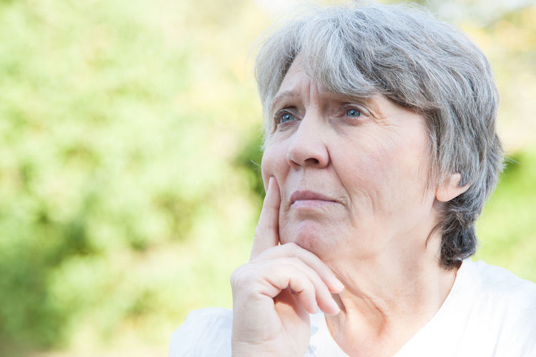 Close-up of thoughtful senior woman