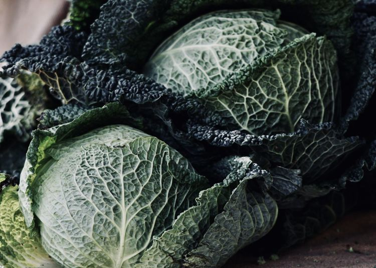 Close-up of savoy cabbage on table
