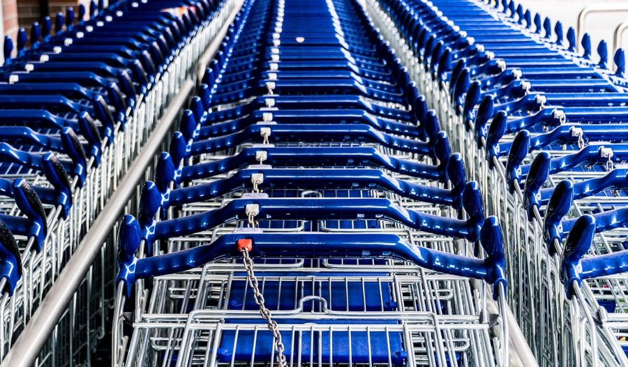 Shopping Carts In Row At Supermarket