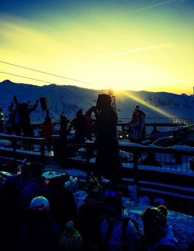 La folie douce till the sun goes down France Skiing Nightlife Lafoliedouce Night Ski Sunset Sunset Silhouettes Meribel Three Valleys Party Let's Go. Together.