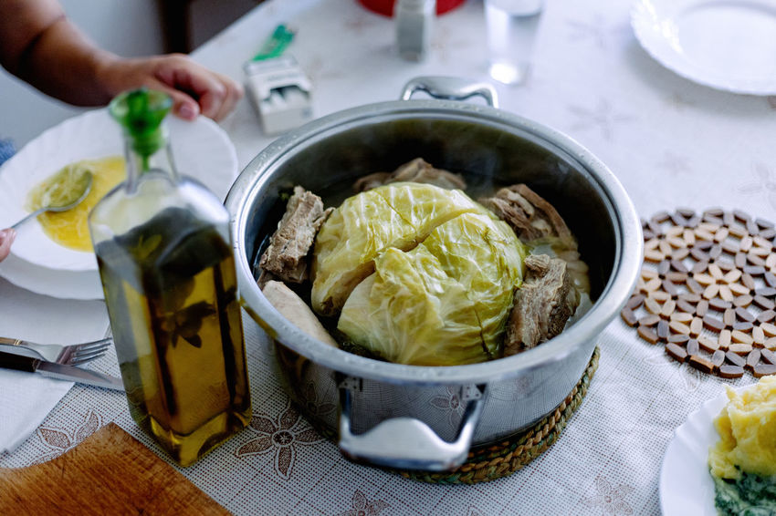 Cabbage, Lamb and Olive oil. Lamb Lunch Mediterranean  Bowl Cabage Close-up Food Food And Drink Freshness Hand Healthy Eating Human Body Part Human Hand Indoors  Olive Oil Plate Ready-to-eat Table Wellbeing