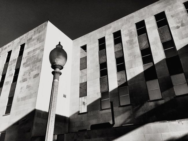 Architecture Built Structure Building Exterior Low Angle View No People Communication Outdoors Street Light Day Modern City Sky Monochrome Light And Shadow Lubbock, TX