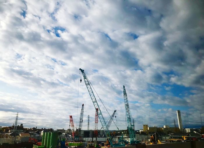 Construction site Cloudy Day Iphone7plusphoto Construction Site Tower Crane Cloud - Sky Sky Architecture Built Structure City Cityscape City Life Tall - High