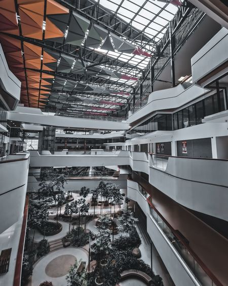 High angle view of modern buildings in shopping mall