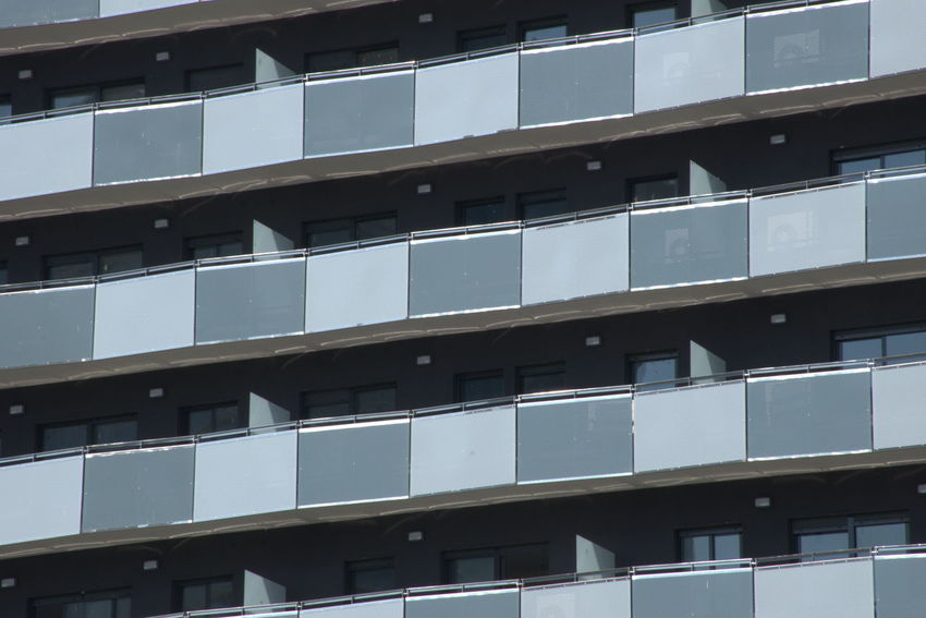 Balconies in an office building Apartment Architecture Building Building Exterior Built Structure City Full Frame Glass - Material Modern No People Pattern Repetition Sunlight