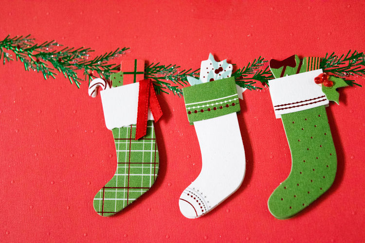 Crafts Greeting Holiday Hung Stockings Art Christmas Christmas Decoration Close-up Day Flatlay Flatlays Greeting Card  Greetings Indoors  No People Paper Papercraft Red