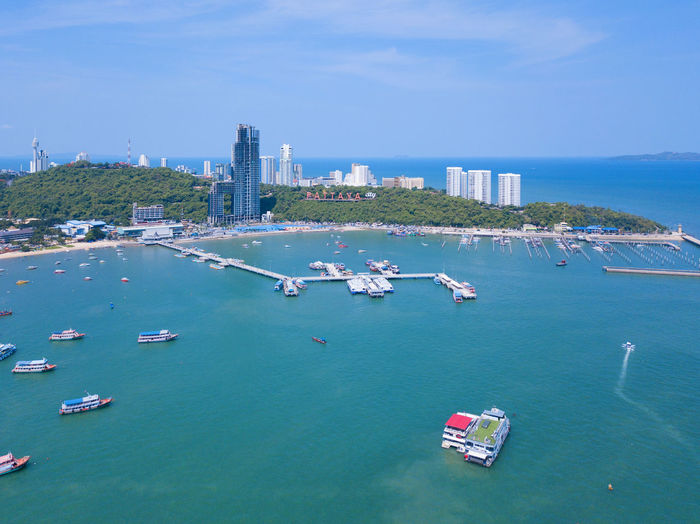 Aerial view of boats in Pattaya sea, beach, and urban city with blue sky for travel background. Chonburi, Thailand. Coastline Shore Chonburi City Water Bay Beach Aerial Turquoise Boat Boats Pattaya Thailand Travel ASIA Sky Sea Thai Nature Summer Blue Tourism Tropical Vacation Landscape Outdoor Ocean Holiday Background Island Architecture Asian  Sand Coast Ship Resort Day Seascape Park Buildings Cityscape Downtown Town Skyline Skyscraper Landmark Urban Koh Clear Crystal Nautical Vessel Transportation Mode Of Transportation Building Exterior Built Structure Waterfront High Angle View No People Outdoors Scenics - Nature Office Building Exterior Passenger Craft Cruise Ship