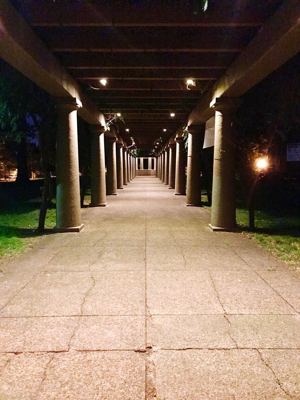 the way forward, illuminated, diminishing perspective, no people, night, walkway, architecture, architectural column, built structure, outdoors