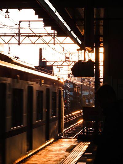 おはようございます。久々にカメラと同伴出勤です❤️ Olympus OM-D E-M5 Mk.II Tokyo Street Photography Morning Light Transportation Public Transportation Rail Transportation Train - Vehicle Mode Of Transport Railroad Station Platform Railroad Track Railroad Station